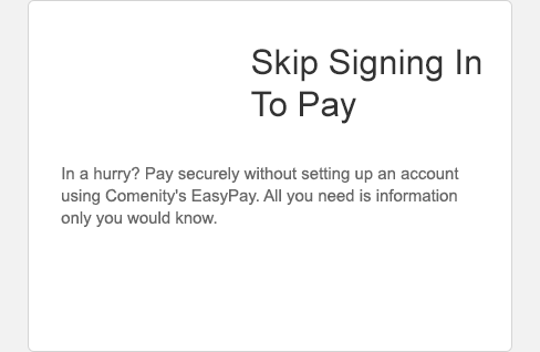 Make a payment without signing in using Comenity's Easy Pay. All you need is information only you know. Select to Learn More.